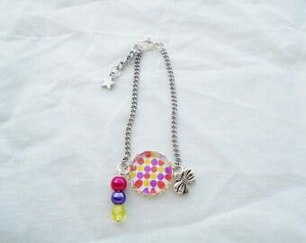 Bracelet cabochon multicolor dots