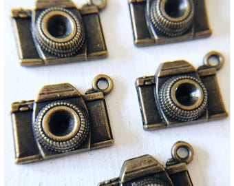 5pc Antique Bronze Camera Charms/8x15x20mm/  Photographer/ Photography