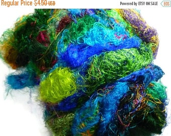 SALE Sari Silk Fiber,1 oz,Mix(cold colours)