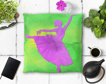 Dancer floor pillow, Decorative floor seating, Green and purple floor cushion, Meditation pouf, Square pillow, Boho home decor, Fap119s