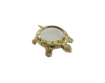 Vintage Gold Brass Turtle Magnifying Glass Desk Accessory