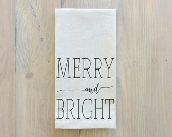 Merry and Bright Napkin_Christmas, table setting, tableware, place setting, housewarming gift, party, dinner, event