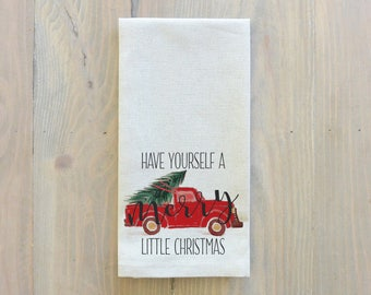 Have Yourself A Merry Little Christmas Truck Napkin_Christmas, table setting, tableware, place setting, housewarming gift, party, event