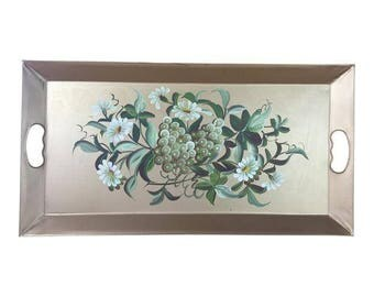 Gold Floral and Fruit Tole Tray