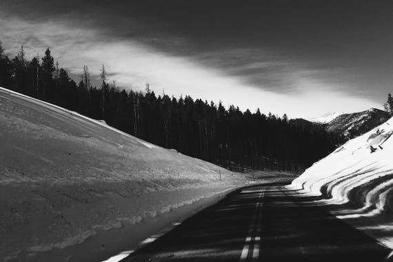 Fine Art Photography | Winter Road Black and White  Print | Wall Art