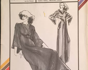 Stretch & Sew V-Neck Bell Sleeve Caftan with Slippers Designed for Knit Fabric Sizes S-M-L (32-36-40) Pattern 2035