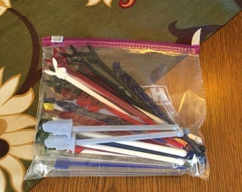 Mix of 44 Glass and Plastic Swizzle Sticks
