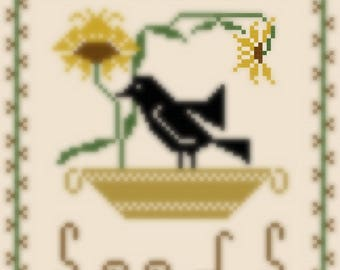 the crow and the seeds cross stitch pattern