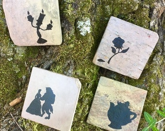 Beauty and the Beast Coasters - Set of 4