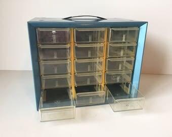Vintage Blue Storage Drawers, Organization Box, Craft Storage Bin, Industrial Office Decor, Industrial Blue Storage Drawers, Storage Bins