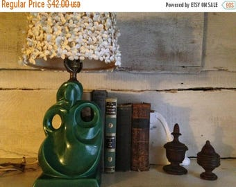 ClearanceOutOfBusiness 1950's ICONIC Art Deco ceramic LAMP, Timeless, Geometric,perfect original condition,Mad Men decor,bedroom,table lamp,