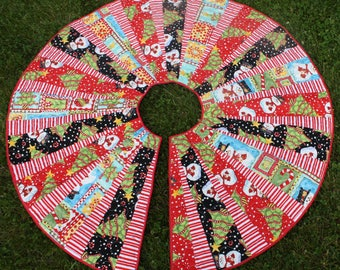 Christmas Tree Skirt Reversible - Candy Cane Snowman Red White Green Black