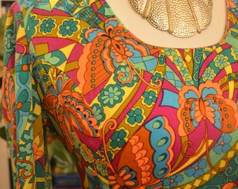 Vintage 1970s floral butterfly long sleeve empire waist maxi dress S small psychedelic op art