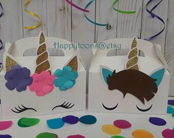 Unicorn favor boxes, Boy, girl unicorn birthday, unicorn face, unicorn party set of 10
