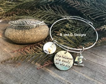 Personalized feather expandable graduation  bracelet  She believed she could so she did.