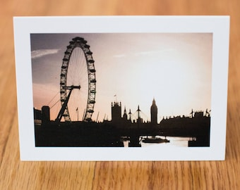 London Sunset, Travel Photo Card with envelope, Blank Inside