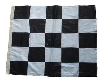 "100% COTTON Nascar Flag Black and White 27"" X 35"" The Checkered Flag"