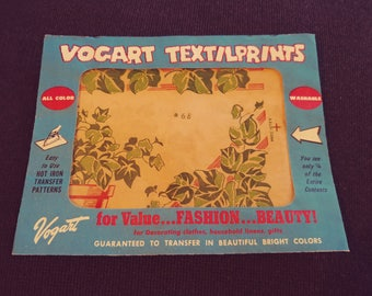 No. 68 Vogart Textilprints.  All Color Washable. Unused. Red Green Ivy Foilage Themed