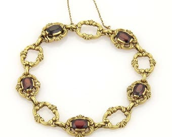 16220M - Vintage 5.00ct Garnet & Open Floral Link 18k Yellow Gold Bracelet
