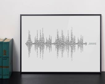 Personalised soundwave typography art