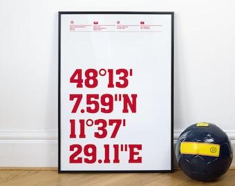 German League Football Stadium Coordinates posters