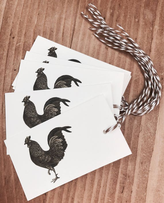 farm rooster gift/favor tags 8 count