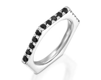 14K White Gold, Wedding Band Ring, Ring Has 6 Sides, 3 of them are pave setting. Black diamonds 2 mm Round, Wedding Ring Band, 1/2 CT .TW.