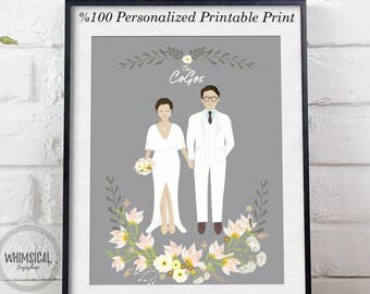 Digital Custom portrait illustration wedding portrait   personalized sketch wedding valentines day illustration, printable print wall art