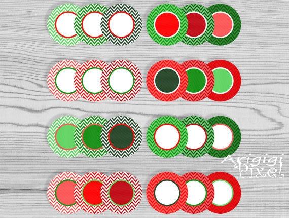 digital round frames - chevron circles clip art set - Christmas colors - download