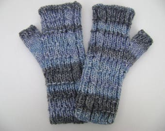 Shades of Blue /Grey Fingerless Gloves. Handwarmers. Fingerless Mittens. Hand Knit.