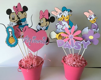 Minnie and Daisy birthday centerpieces, Minnie and Mickey, Donald and Daisy birthday centerpieces