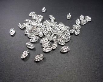 50 beads, Transparent, Olive, 10x6 mm (796)