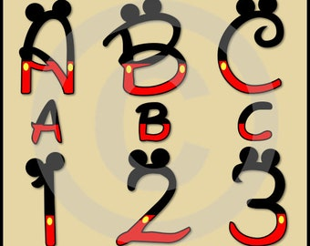 Mickey Alphabet Letters & Numbers Clip Art Graphics - Disney Font