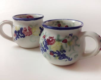 2 Vintage Clouds Folsom Pottery Mugs, Set Of 2, California Studio Pottery Hand Painted, Signed Flowered Mugs, English Garden, 1997