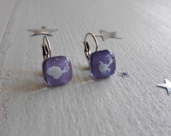 Glass fusing purple earrings, Stud Earrings