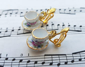 Tea cup earrings - CLIP ON, miniature floral design china cups and saucers - Alice in Wonderland vintage tea party teacup