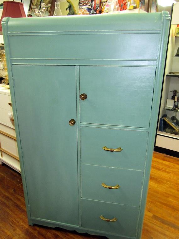 Art Deco Chifferobe Armoire Dresser restyled shabby chic seafoam green