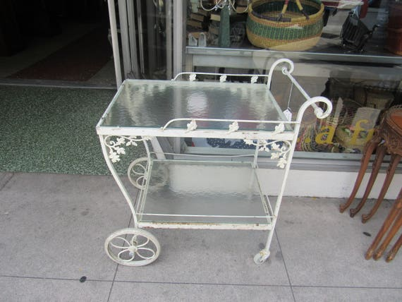 Iron Garden Cart with Glass shabby chic