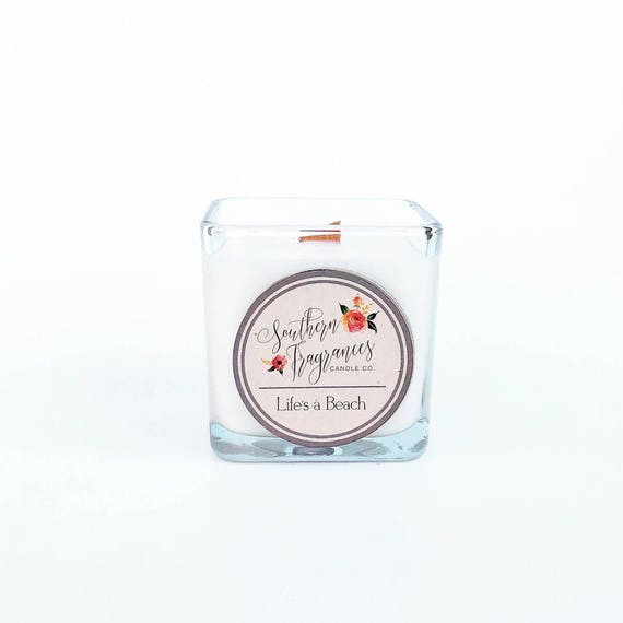Life's A Beach Soy Candle | 12oz Soy Candle | Sea Salt & Orchid Candle | Wood Wick Candle