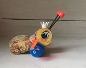 Vintage Queen Buzzy Bee Pull Toy   Fisher Price Classic 1960's Wooden Pull Toy   Child's Room Decor   Nursery Decor