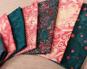 Batik textiles fat 1/8 bundle of 7 hot pink