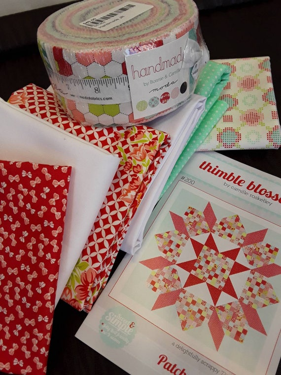 Quilt Kit. Modern Patchwork Swoon Fabric from Moda's Handmade Collection with Jelly Roll, Pattern by Camille Roskelley Thimble Blossoms