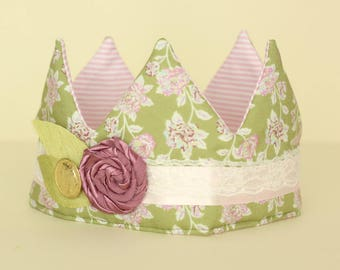 Green Floral Fabric Crown with Pink flower trim