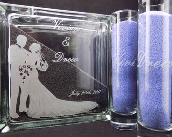 """Personalized Engraved 8"""" Sand Ceremony Glass Block & 2 Glass Sand Pouring Containers."""