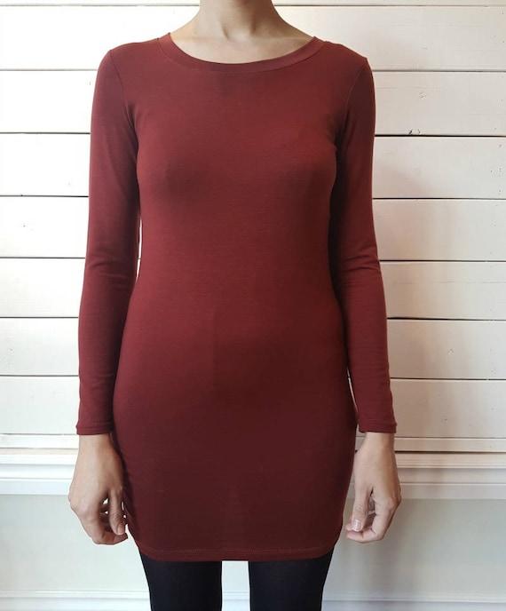 TUNIC 2015 - long sleeve minimaliste plain tunic for women - paprika