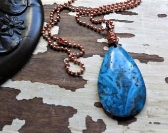 Mens Jewelry Blue Crazy Lace Agate Copper Ball Chain Blue Pendant Rustic Copper