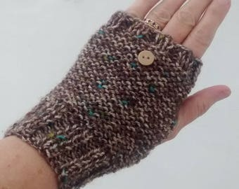 Fingerless Gloves - Hand Knit Gloves - Brown Tweed Mittens - Ladies Gloves - Women's Gloves - Gifts for Her