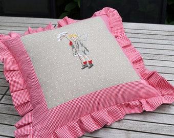 Ruffle pillow WINTER fairy cross stitch