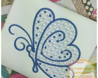 ON SALE Heart Butterfly Machine Embroidery Design