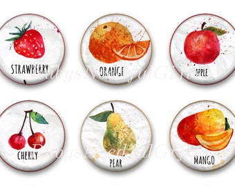 Fruit Magnets, Button Magnets, Fridge Magnets, 1 1/4 inch, Kitchen Magnets, Thank you Gift, Hostess Gift, SET OF 6, Fruit Magnets.